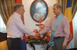 President Michel receives the Order of the Republic of Serbia on a Sash from New Serbian Ambassador accredited to Seychelles