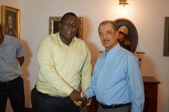 Young award-winning Seychellois entrepreneur Jimmy Port-Louis meets President
